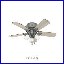 Hunter Fan 42 in Casual Matte Silver Ceiling Fan with Light kit and Pull Chain