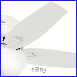 Hunter Fan 42 in. Low Profile Ceiling Fan in Fresh White with Light Kit