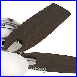 Hunter Fan 42 inch Low Profile Brushed Nickel Fan with Light Kit & Remote Control