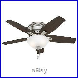 Hunter Fan 42 inch Low Profile Brushed Nickel Fan with Light Kit & Remote Control