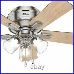 Hunter Fan 42 inch Low Profile Brushed Nickel Indoor Ceiling Fan with Light Kit