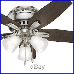 Hunter Fan 42 inch Low Profile Brushed Nickel Indoor Ceiling Fan withLED Light Kit