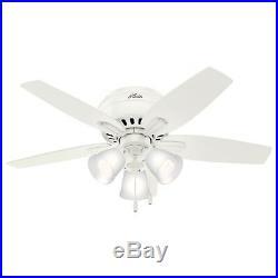 Hunter Fan 42 inch Low Profile Fresh White Indoor Ceiling Fan with Light Kit