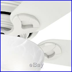 Hunter Fan 42 inch Low Profile Fresh White Indoor Ceiling Fan withBowl Light Kit