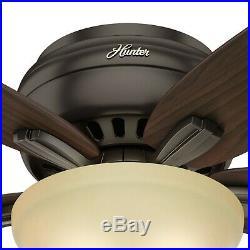 Hunter Fan 42 inch Low Profile New Bronze Fan with Light Kit & Remote Control