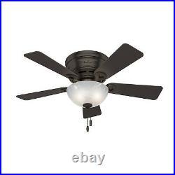Hunter Fan 42 inch Low Profile Premier Bronze Indoor Ceiling Fan with Light Kit