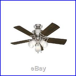 Hunter Fan 42 inch Traditional Brushed Nickel Indoor Ceiling Fan withLED Light Kit