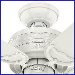 Hunter Fan 42 inch Traditional Fresh White Ceiling Fan with Light Kit