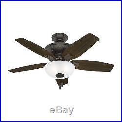 Hunter Fan 42 inch Traditional Nobel Bronze Ceiling Fan with LED Bowl Light Kit