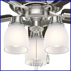 Hunter Fan 44 in Brushed Nickel Indoor Ceiling Fan with Light Kit and Pull Chain