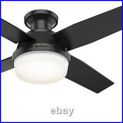 Hunter Fan 44 in Low Profile Matte Black Ceiling Fan with Light kit and Remote