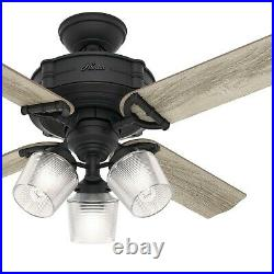 Hunter Fan 44 in Traditional Natural Iron Ceiling Fan with Light Kit and Remote
