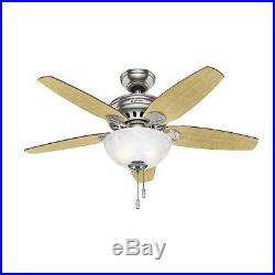 Hunter Fan 44 inch Casual Brushed Nickel Indoor Ceiling Fan with Light Kit