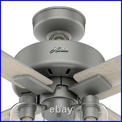 Hunter Fan 44 inch Contemporary Matte Silver Indoor Ceiling Fan with Light Kit