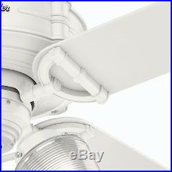 Hunter Fan 44 inch Fresh White Indoor Ceiling Fan with Light Kit & Remote Control