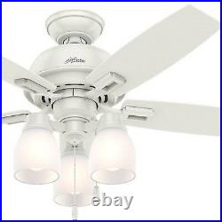 Hunter Fan 44 inch Fresh White Indoor Ceiling Fan with Light kit and Pull Chain