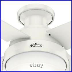 Hunter Fan 44 inch Indoor Low Profile Fresh White Ceiling Fan with Light Kit