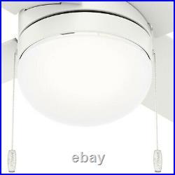 Hunter Fan 44 inch Low Profile Indoor Fresh White Ceiling Fan with Light Kit