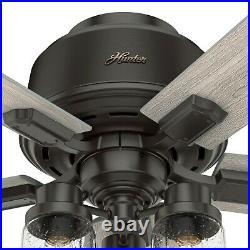 Hunter Fan 44 inch Low Profile Noble Bronze Indoor Ceiling Fan with Light Kit