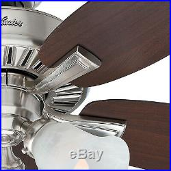 Hunter Fan 46 in Brushed Nickel Finish Ceiling Fan with Light Kit & Remote Control