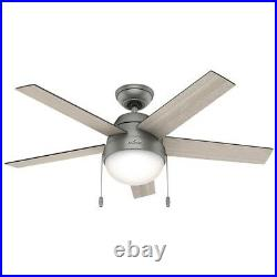 Hunter Fan 46 in Casual Matte Silver Ceiling Fan with Light Kit and Pull Chain