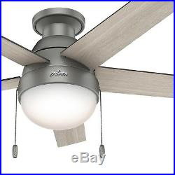 Hunter Fan 46 inch Low Profile Matte Silver Fan with Light Kit & Remote Control