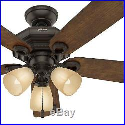 Hunter Fan 46 inch Traditional Onyx Bengal Bronze Indoor Ceiling Fan withLight Kit