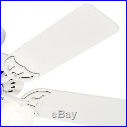 Hunter Fan 46 inch White Finish Indoor Ceiling Fan with Light Kit