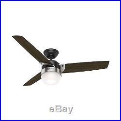 Hunter Fan 48 in. Modern Matte Black Ceiling Fan with Light Kit & Remote Control