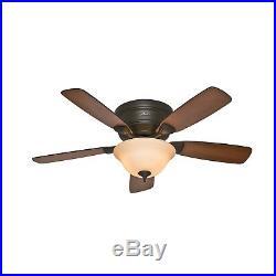 Hunter Fan 48 inch New Bronze Low Profile Ceiling Fan with Bowl Light Kit
