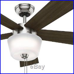 Hunter Fan 52 Contemporary Ceiling Fan with Bowl Light Kit, Brushed Nickel