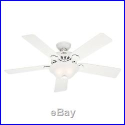 Hunter Fan 52 Inch Traditional Large Room White Ceiling Fan with 2 Bulb Light Kit