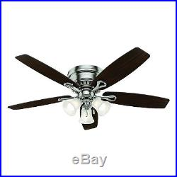 Hunter Fan 52 in Brushed Nickel Finish Ceiling Fan with Light Kit & Remote Control