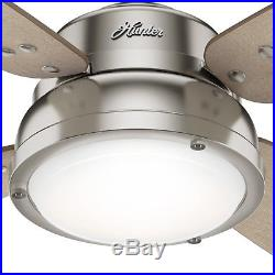 Hunter Fan 52 in Casual Brushed Nickel Ceiling Fan with Light Kit & Remote Control