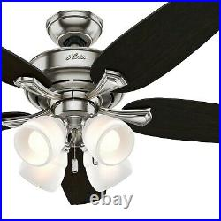 Hunter Fan 52 in Casual Brushed Nickel Ceiling Fan with Light Kit and Pull Chain
