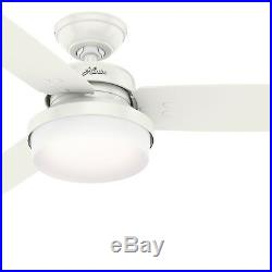 Hunter Fan 52 in. Casual Fresh White Ceiling Fan with Light Kit & Remote Control