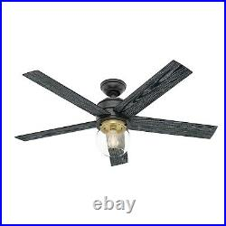 Hunter Fan 52 in Contemporary Matte Black Ceiling Fan with Light Kit and Remote