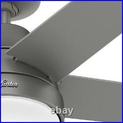 Hunter Fan 52 in Contemporary Matte Silver Ceiling Fan with Light Kit and Remote