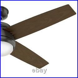 Hunter Fan 52 in Contemporary Noble Bronze Ceiling Fan with Light Kit and Remote