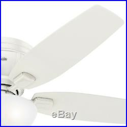 Hunter Fan 52 in. Low Profile Fresh White Ceiling Fan with LED Bowl Light Kit