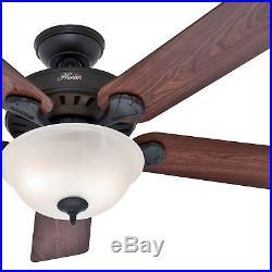 Hunter Fan 52 in. New Bronze Ceiling Fan with Swirled Marble Glass CFL Light Kit