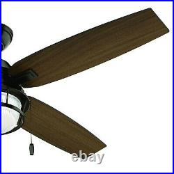 Hunter Fan 52 in Noble Bronze Outdoor Ceiling Fan with Light Kit and Pull Chain