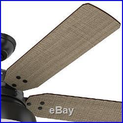 Hunter Fan 52 in. Rustic Ceiling Fan in Matte Black with LED Open Hood Light Kit