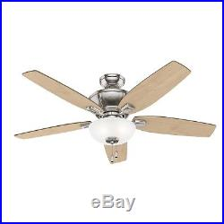 Hunter Fan 52 in. Traditional Brushed Nickel Ceiling Fan with LED Bowl Light Kit