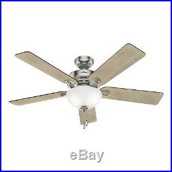 Hunter Fan 52 in. Traditional Ceiling Fan with Bowl Light Kit in Brushed Nickel