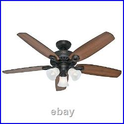 Hunter Fan 52 in Traditional New Bronze Indoor Ceiling Fan w Light Kit, 5 Blades