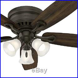 Hunter Fan 52 inch Bronze Finish Ceiling Fan with Light Kit & Remote Control