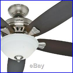 Hunter Fan 52 inch Brushed Nickel Ceiling Fan with Cased White Glass Light Kit