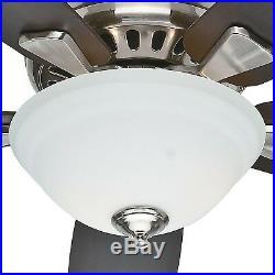 Hunter Fan 52 inch Brushed Nickel Ceiling Fan with Cased White Glass Light Kit
