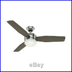Hunter Fan 52 inch Brushed Nickel Ceiling Fan with Light Kit and Remote Control